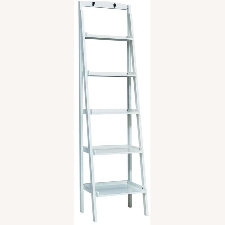 Ladder Bookcase In White Finish W/ 5-Tier Shelf - image-1