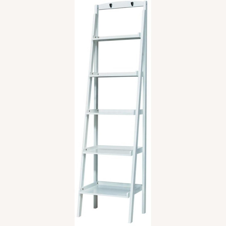 Ladder Bookcase In White Finish W/ 5-Tier Shelf - image-0
