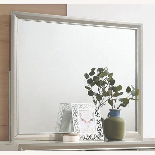 Used Elegant Mirrored Frame In Metallic Sterling Finish for sale on AptDeco