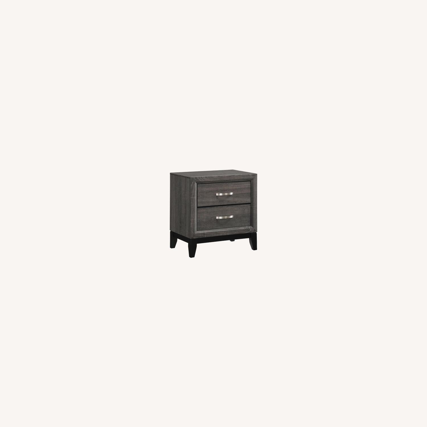 Transitional Nightstand In Rustic Grey Oak - image-4