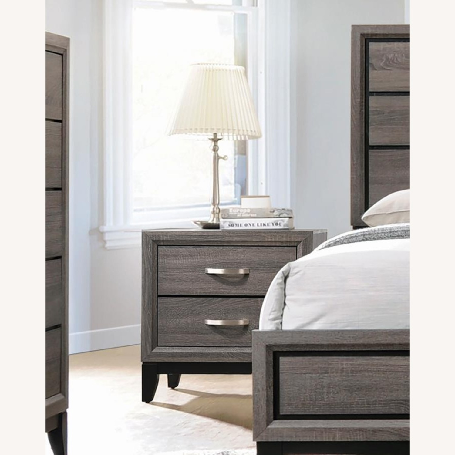 Transitional Nightstand In Rustic Grey Oak - image-2
