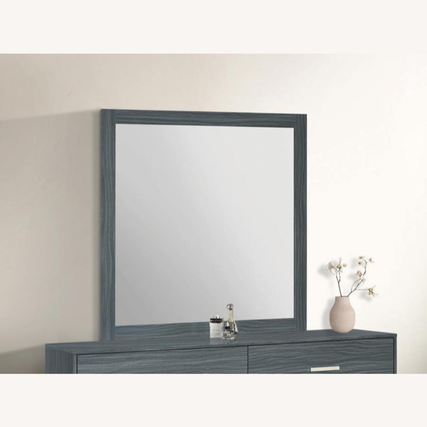 Modern Mirror In Dark Grey Oak Finish - image-1