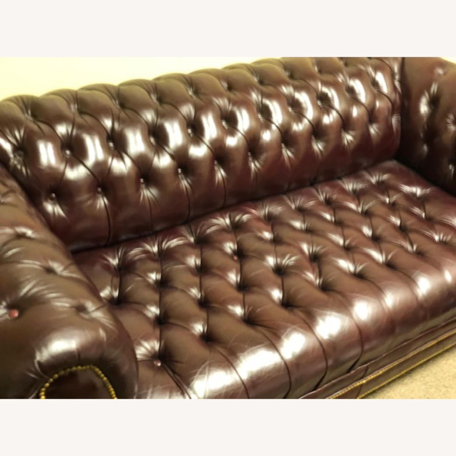 Genuine Tufted Leather Sofa W Bronze Nail Heads - image-5