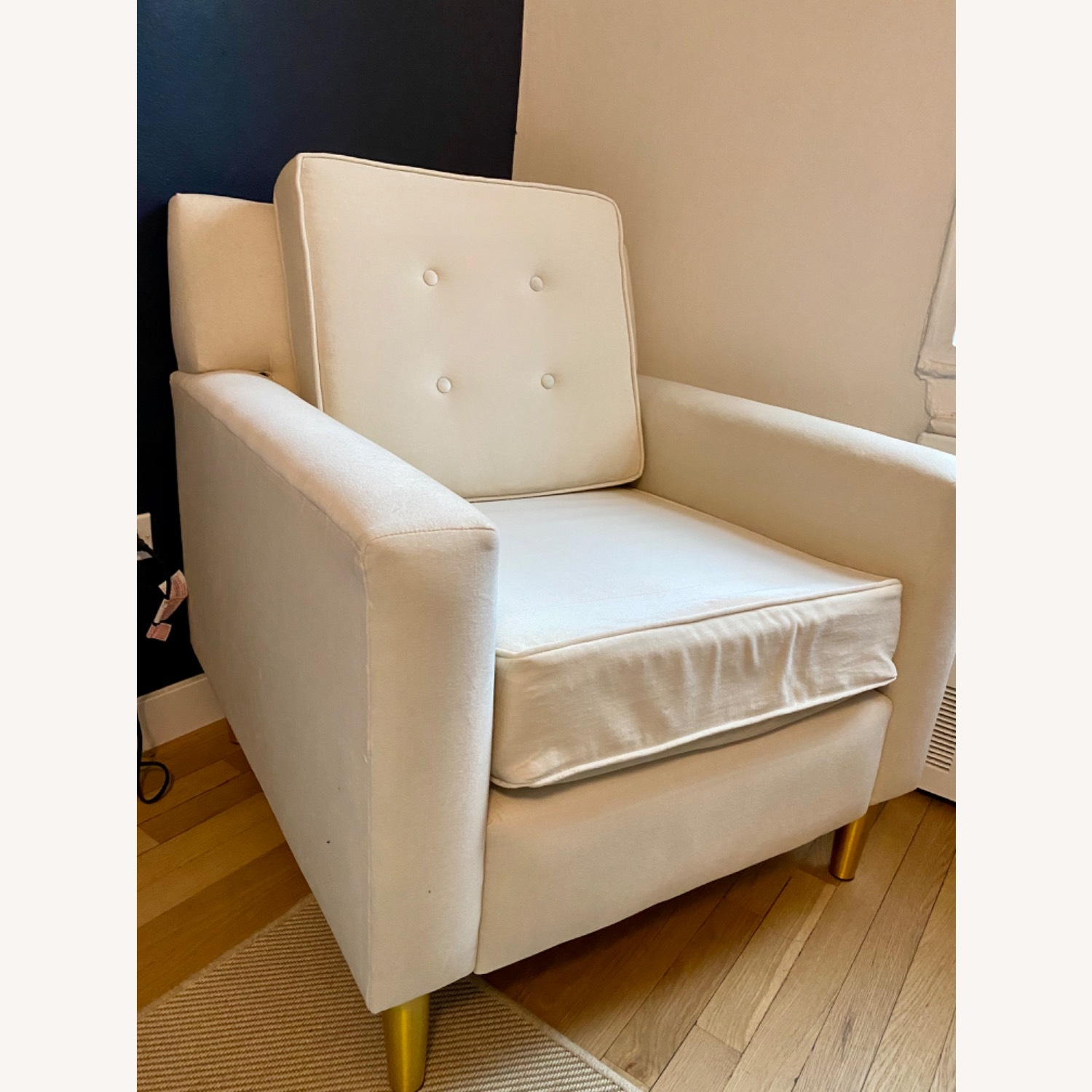 Velvet Chair in Dove with Gold Legs - image-2