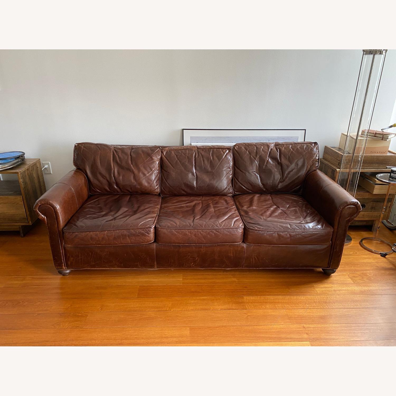 Restoration Hardware Petit Original Lancaster Leather Sofa - image-2