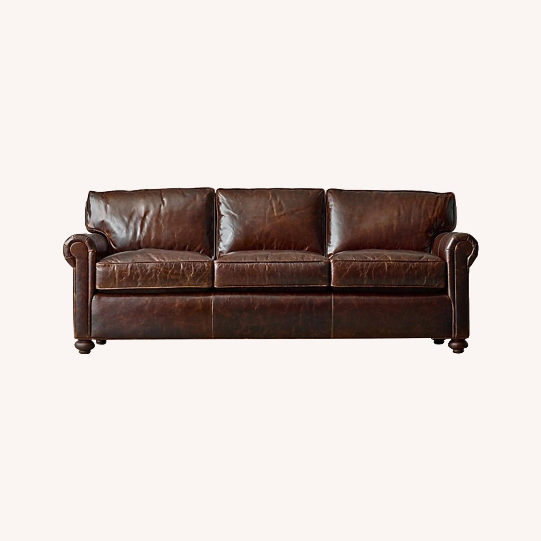 Restoration Hardware Petit Original Lancaster Leather Sofa - image-0