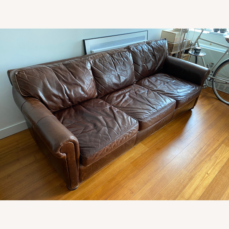 Restoration Hardware Petit Original Lancaster Leather Sofa - image-3