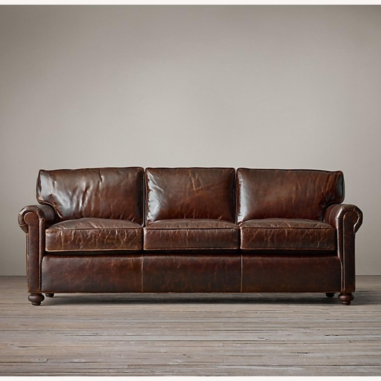 Restoration Hardware Petit Original Lancaster Leather Sofa - image-1