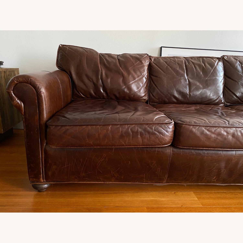 Restoration Hardware Petit Original Lancaster Leather Sofa - image-4