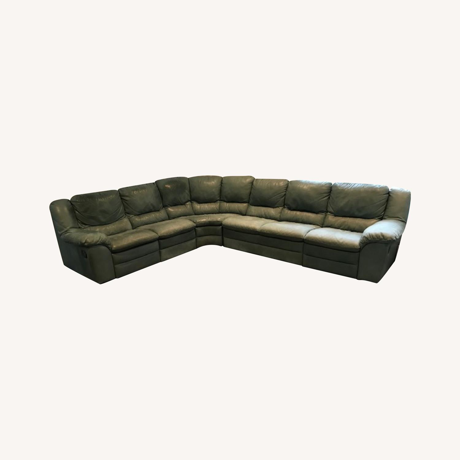 Natuzzi Teal Colored Sectional Couch - image-0