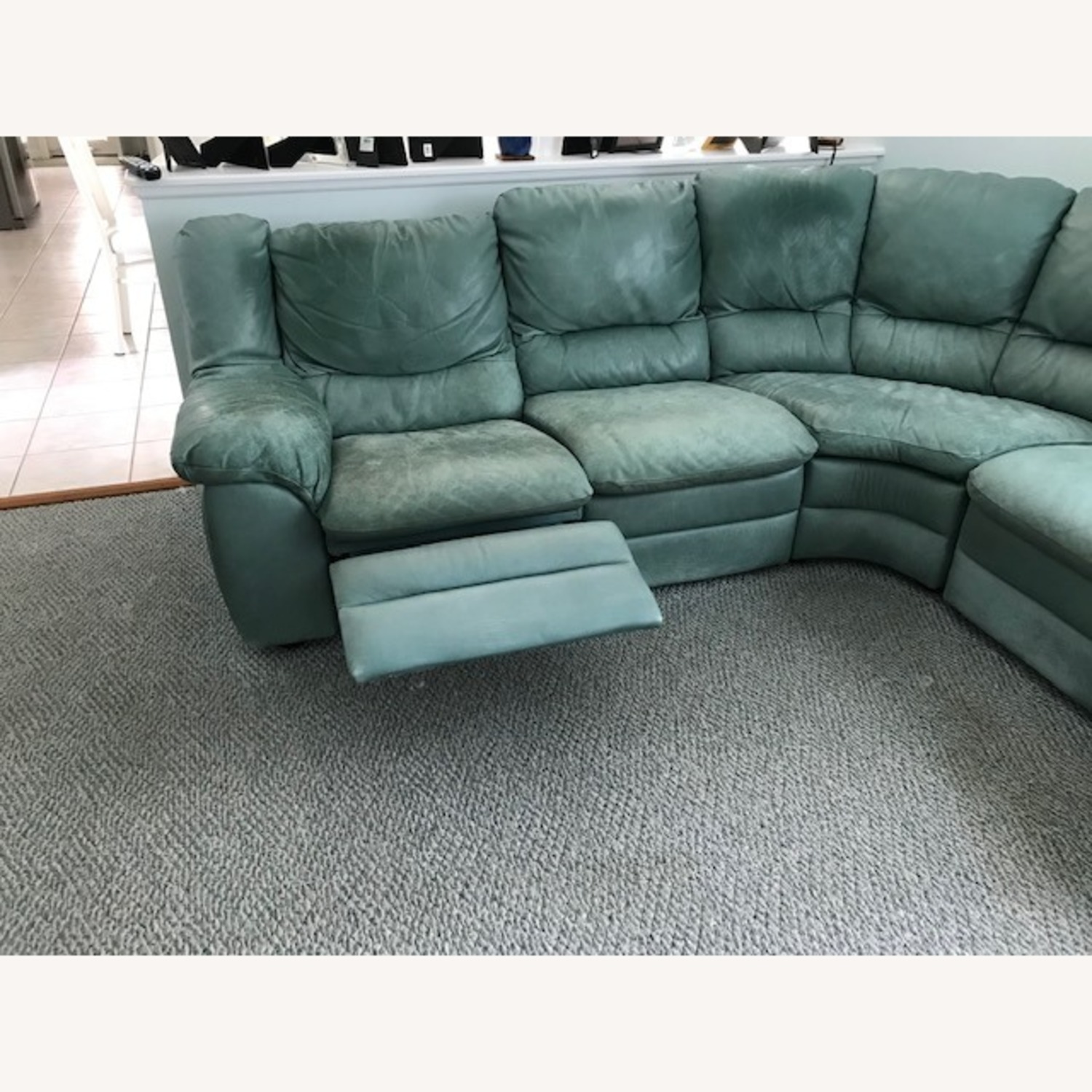 Natuzzi Teal Colored Sectional Couch - image-6