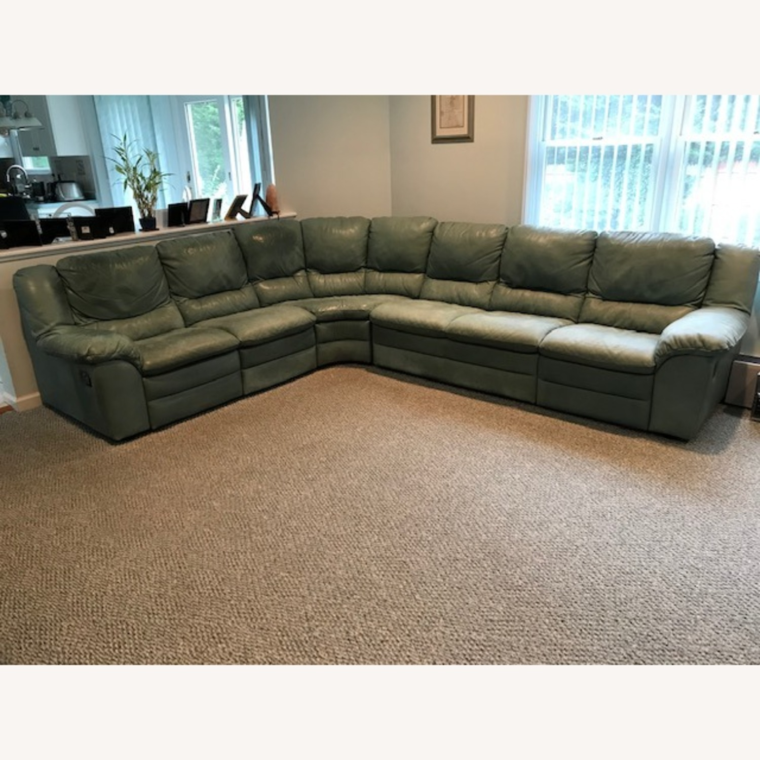 Natuzzi Teal Colored Sectional Couch - image-1