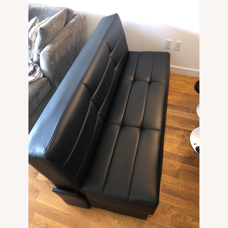 Star International Black Leather Futon & Sleeper Sofa - image-2