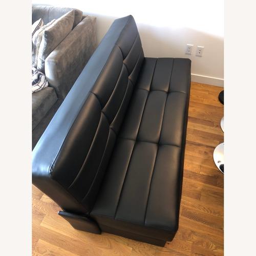 Used Star International Black Leather Futon & Sleeper Sofa for sale on AptDeco