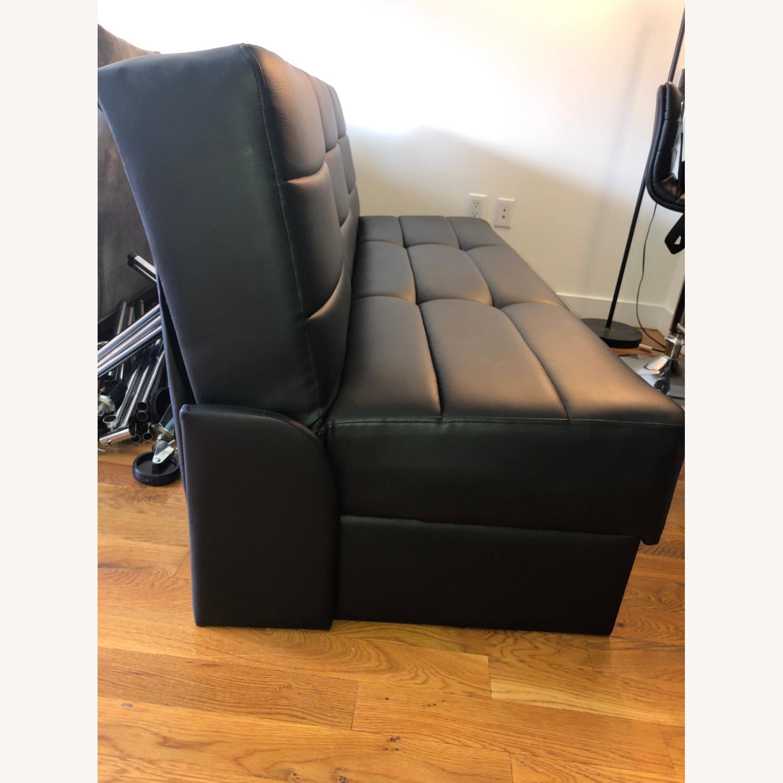 Star International Black Leather Futon & Sleeper Sofa - image-3