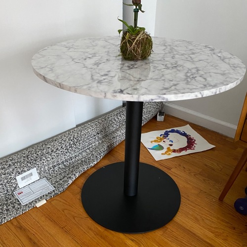 Used Faux Marble Bistro Table for sale on AptDeco