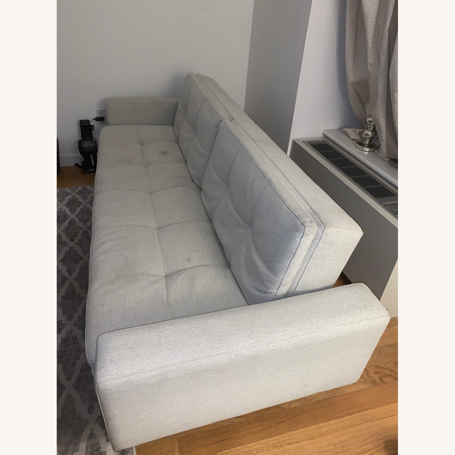 Natural Gray Sofa Bed with Brass Legs - image-6