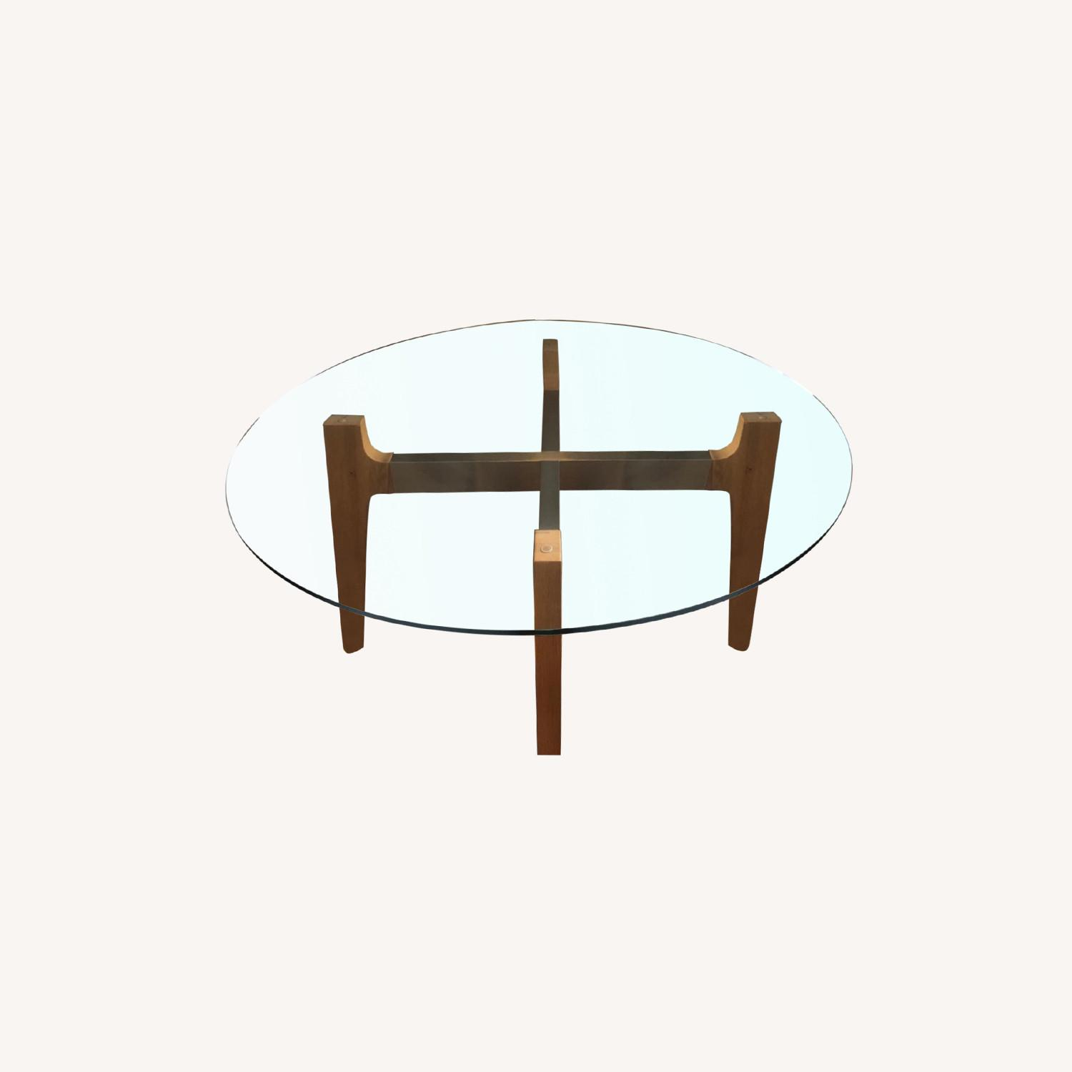 Crate and Barrel 48 Glass Table - image-0