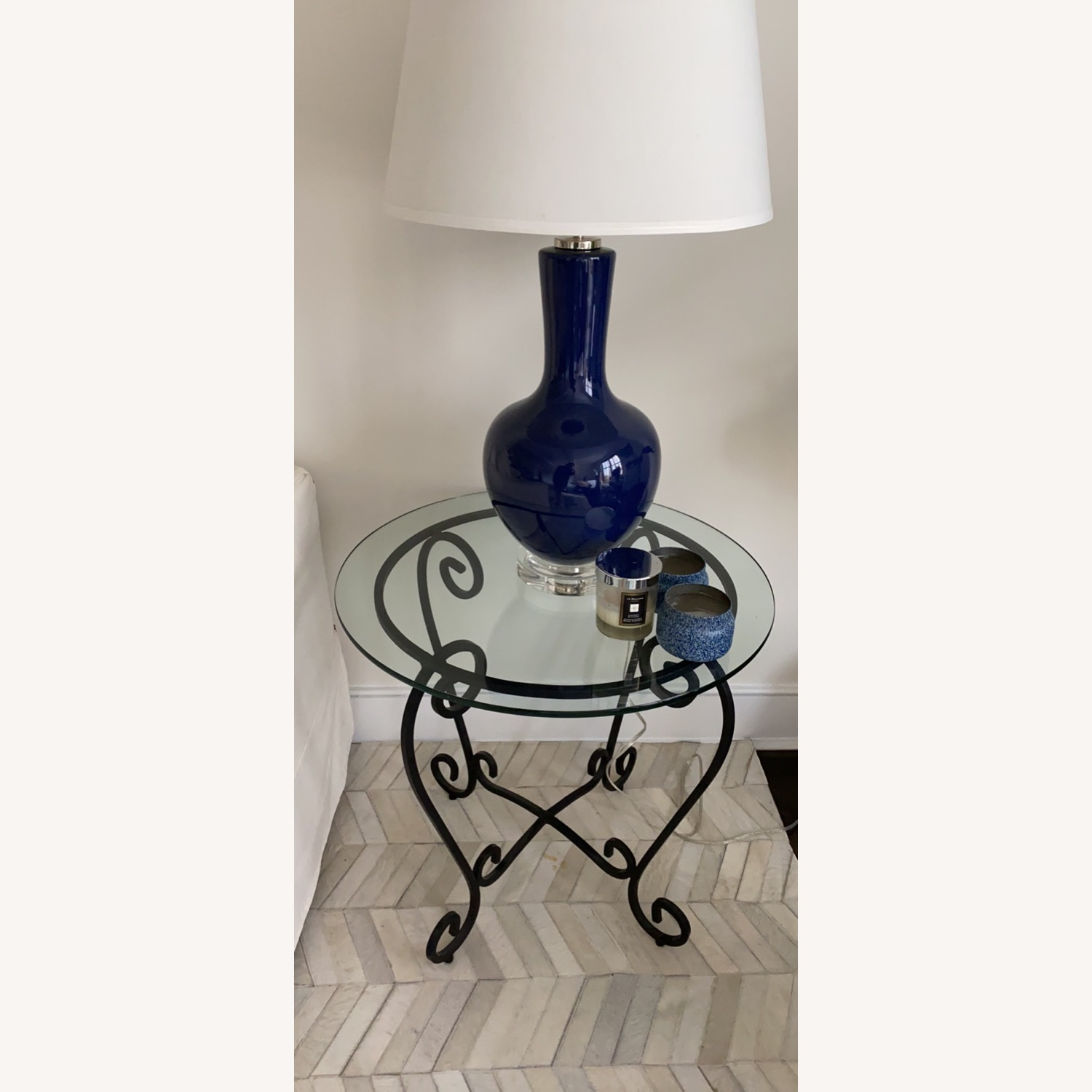 2 French Brass and Glass End Tables - image-2