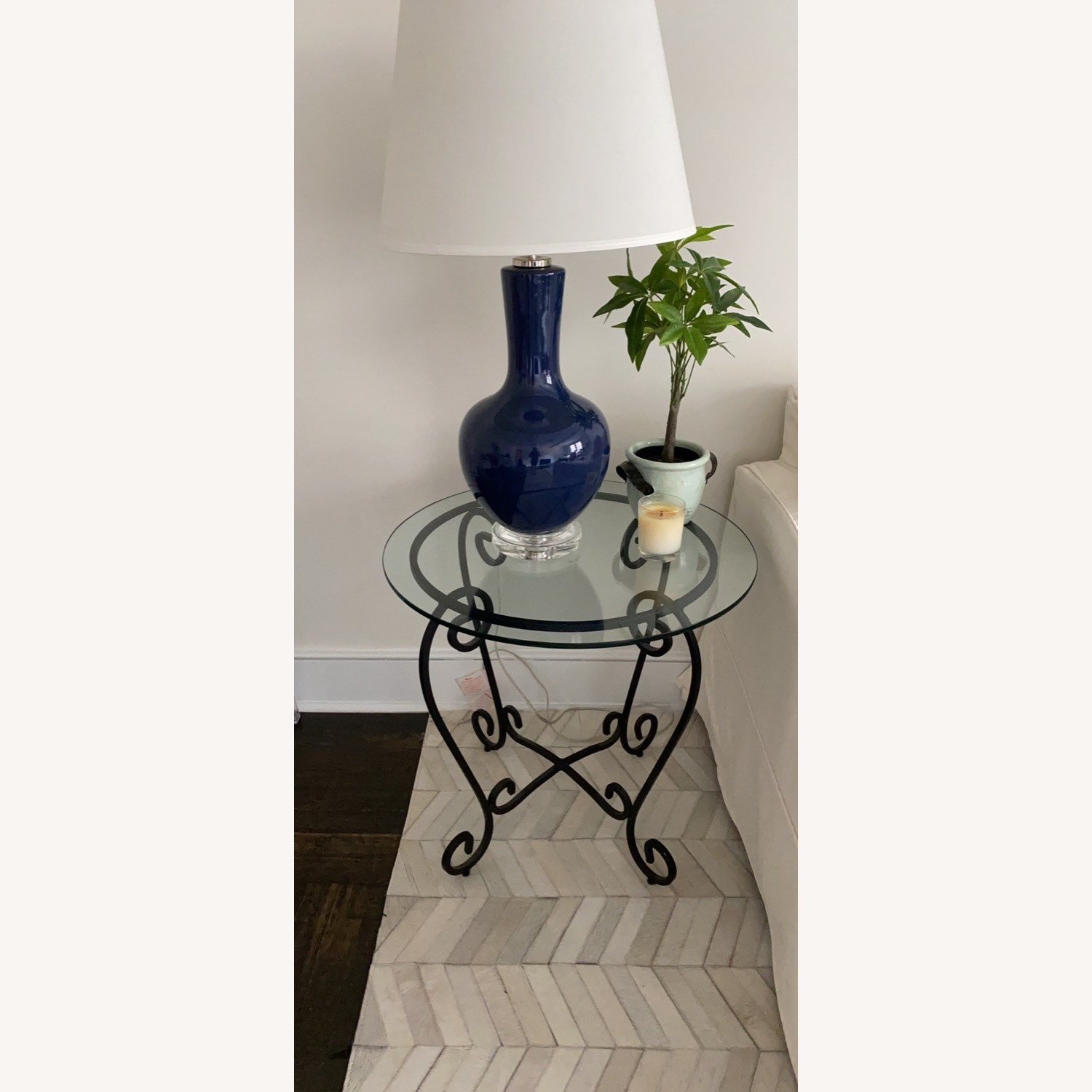 2 French Brass and Glass End Tables - image-1