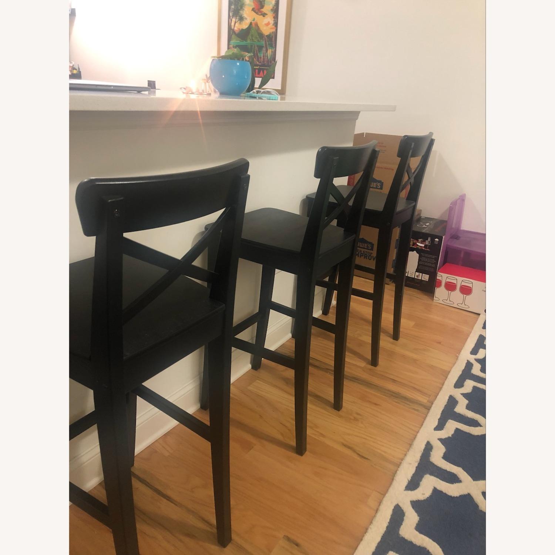 Set of 3 IKEA Ingolf Bar Height Stools - image-1