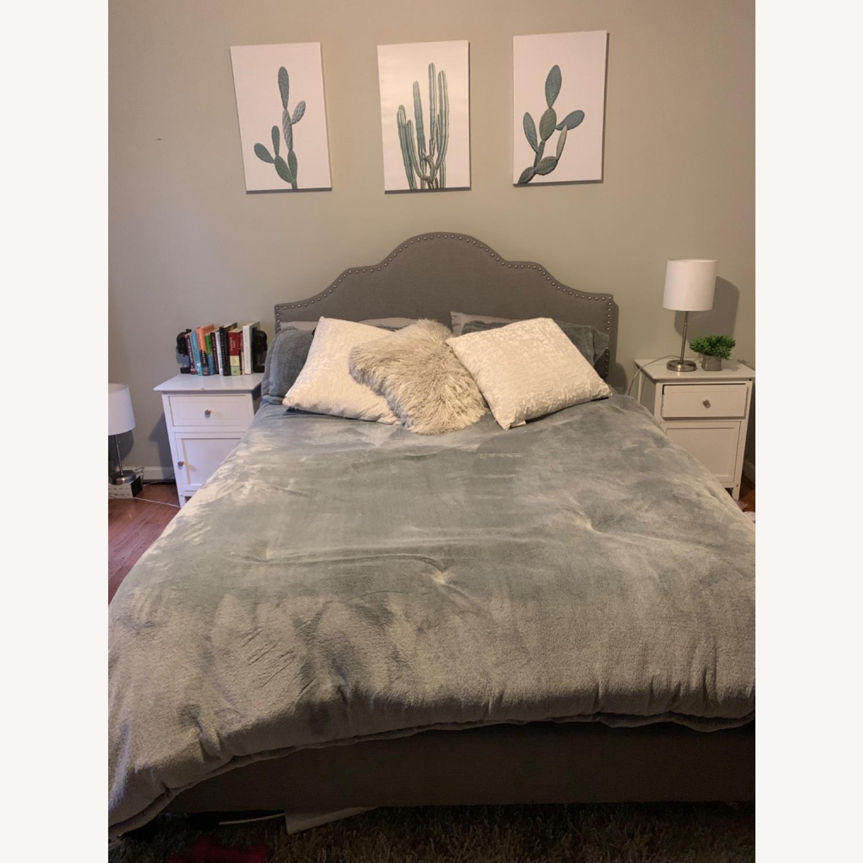 Wayfair Upholstered Grey Queen Bed - AptDeco