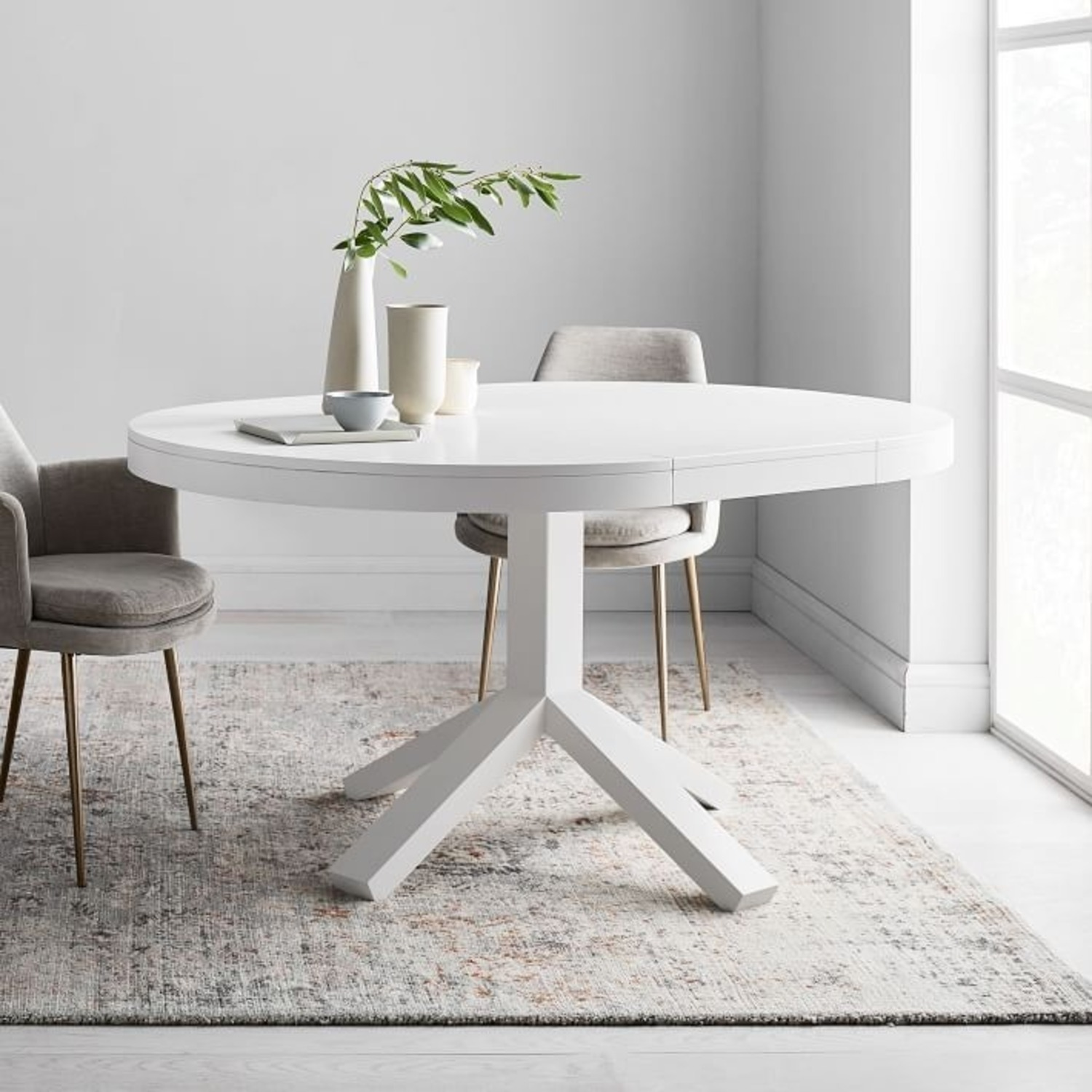 West Elm White Poppy Expandable Dining Table - image-0