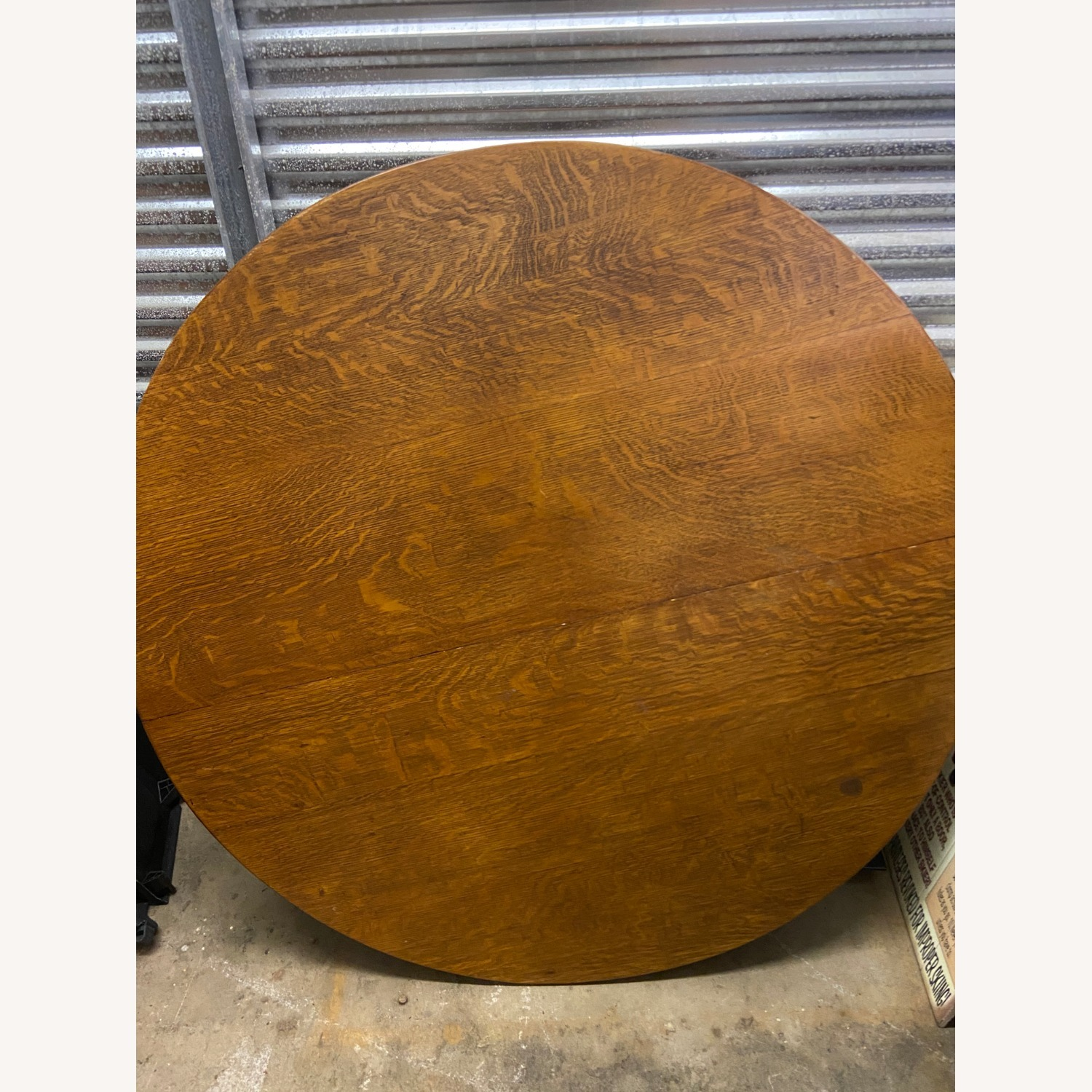 Antique Tiger Oak Dining Table and 7 Chairs - image-5