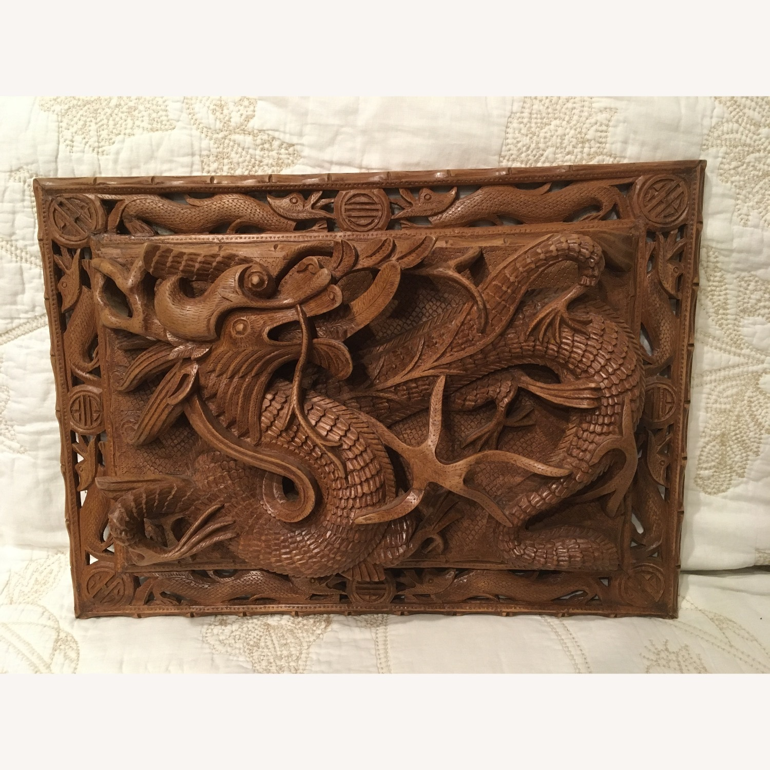 Original Woodcraft Panels with Dragons from India - image-4
