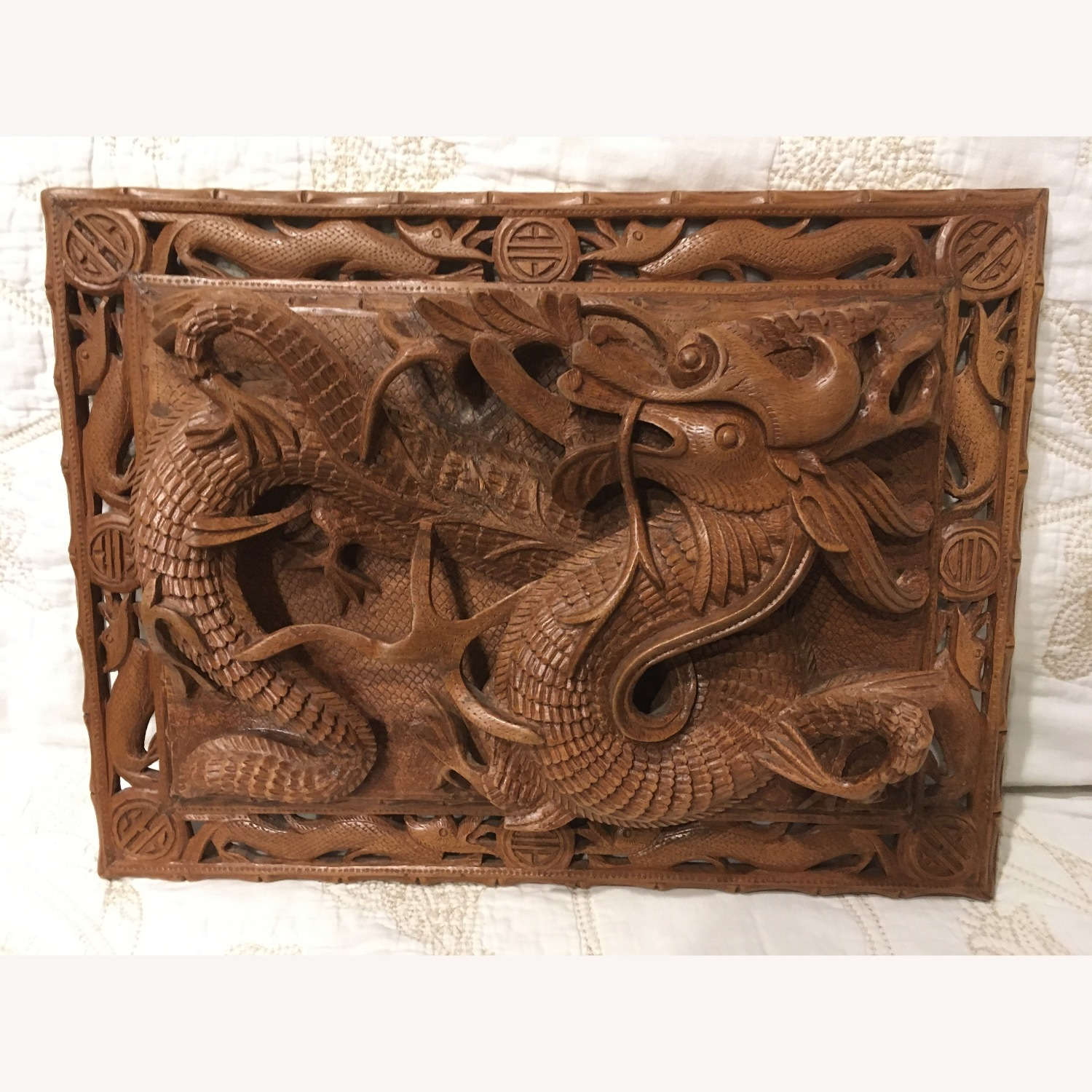 Original Woodcraft Panels with Dragons from India - image-1