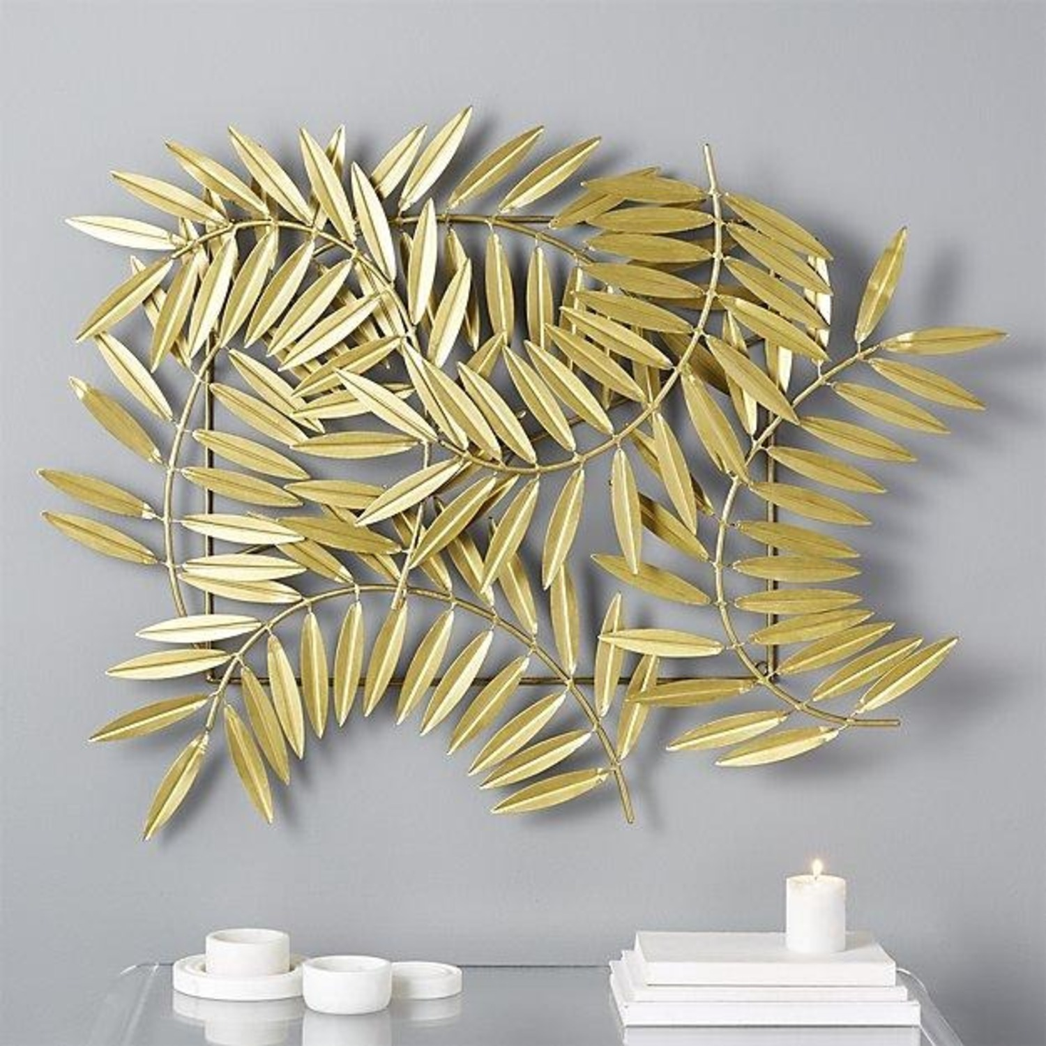 CB2 Ceres Leaves Wall Decor Gold - image-1
