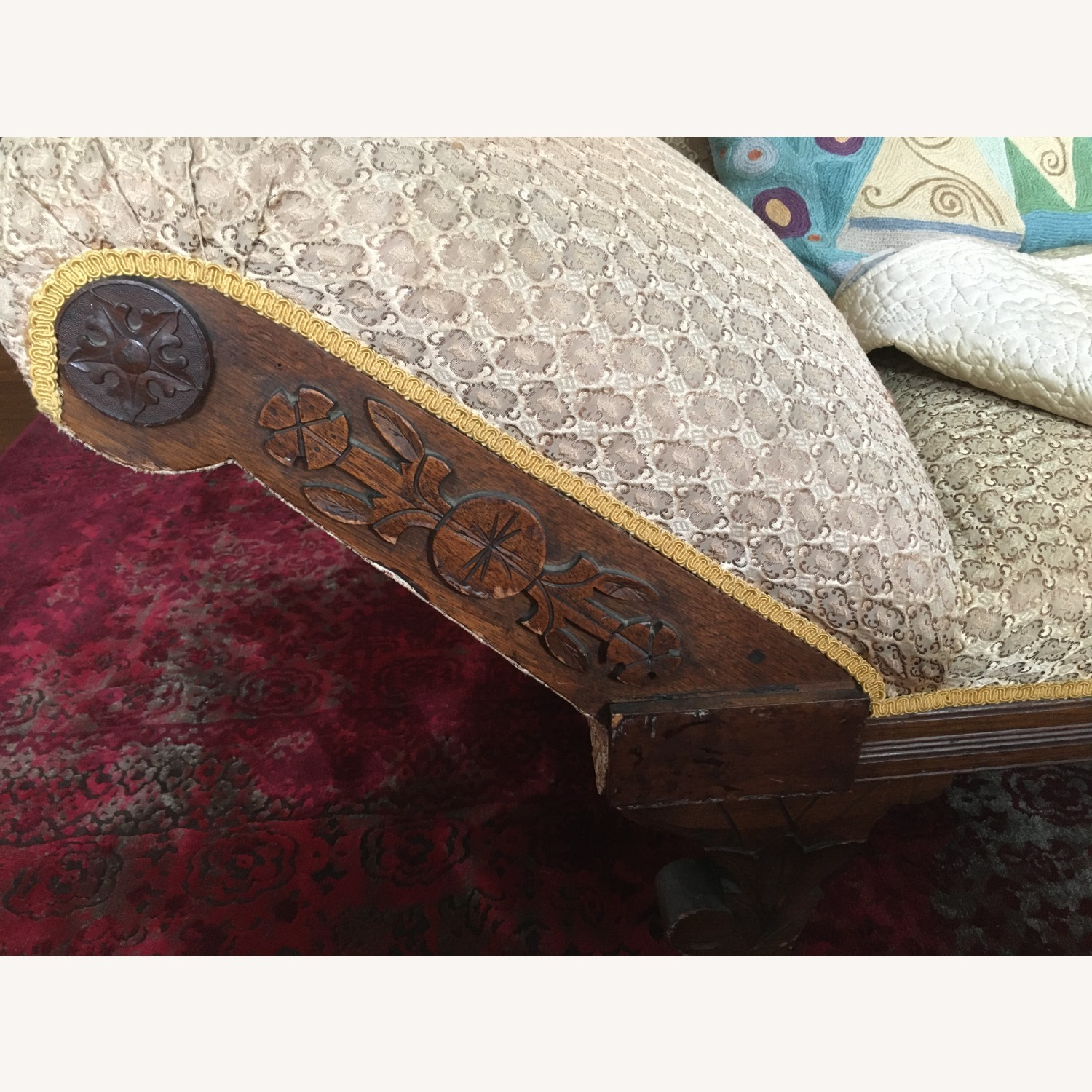Antique Victorian Fainting Couch - image-3