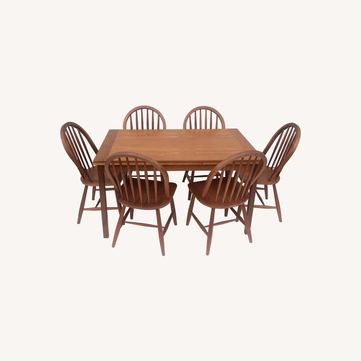 Vintage Modern Dining Set w/ Six Chairs - image-0