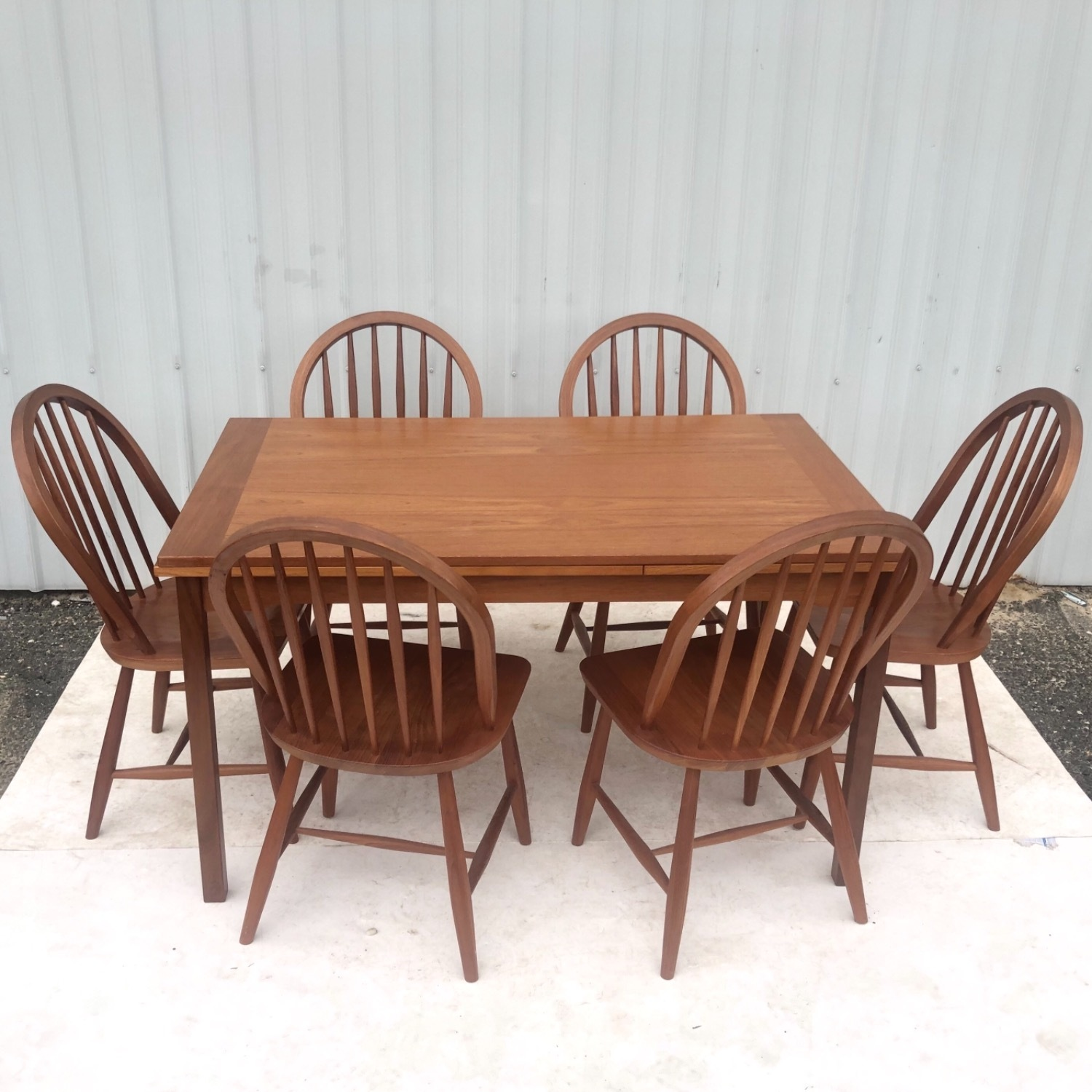 Vintage Modern Dining Set w/ Six Chairs - image-2