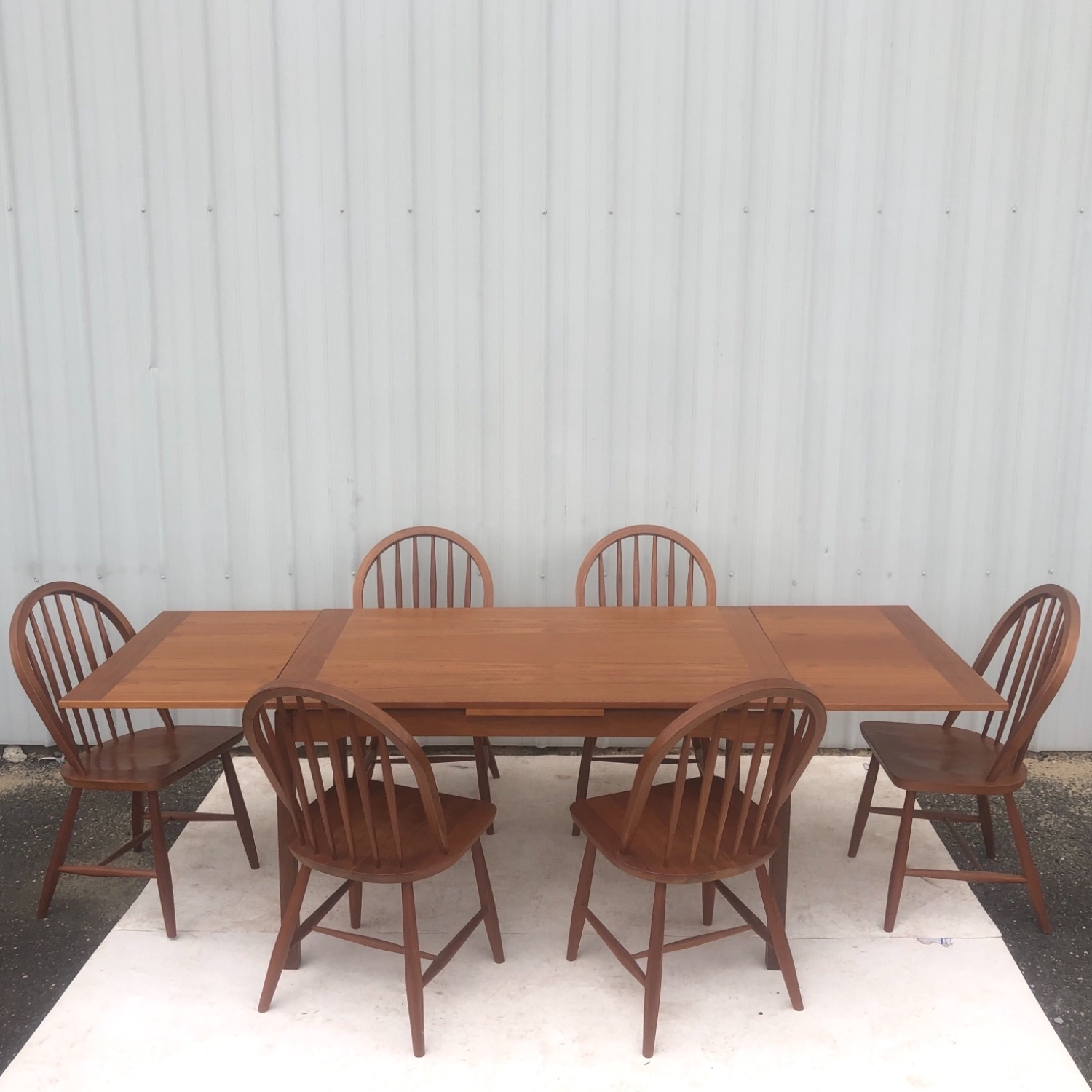 Vintage Modern Dining Set w/ Six Chairs - image-1