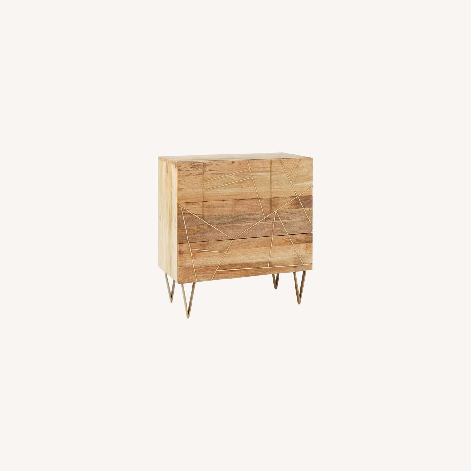 West Elm 3-Drawer Dresser Wood w/Brass Inlay - image-0