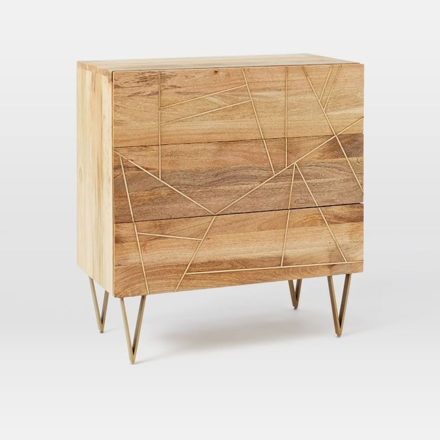 West Elm 3-Drawer Dresser Wood w/Brass Inlay - image-4