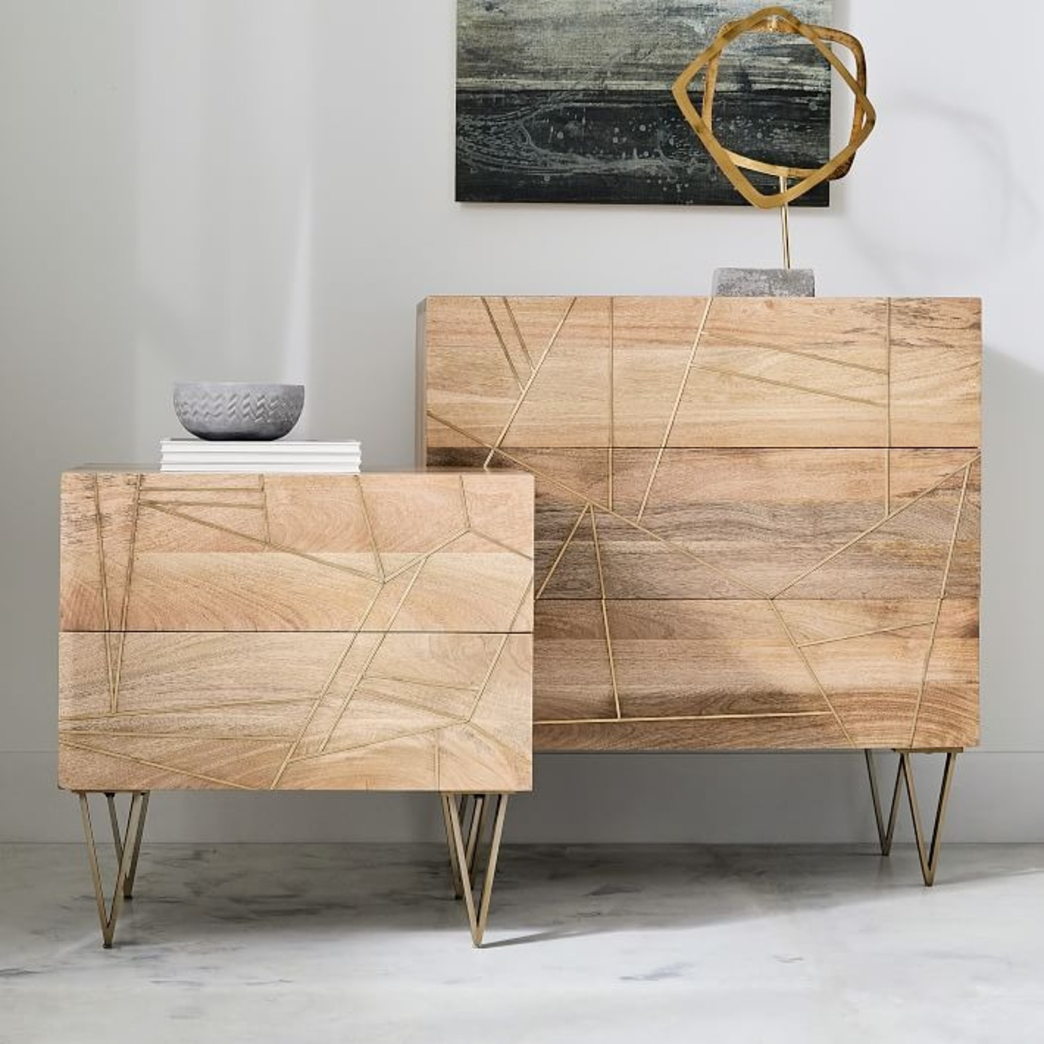West Elm 3-Drawer Dresser Wood w/Brass Inlay - image-2