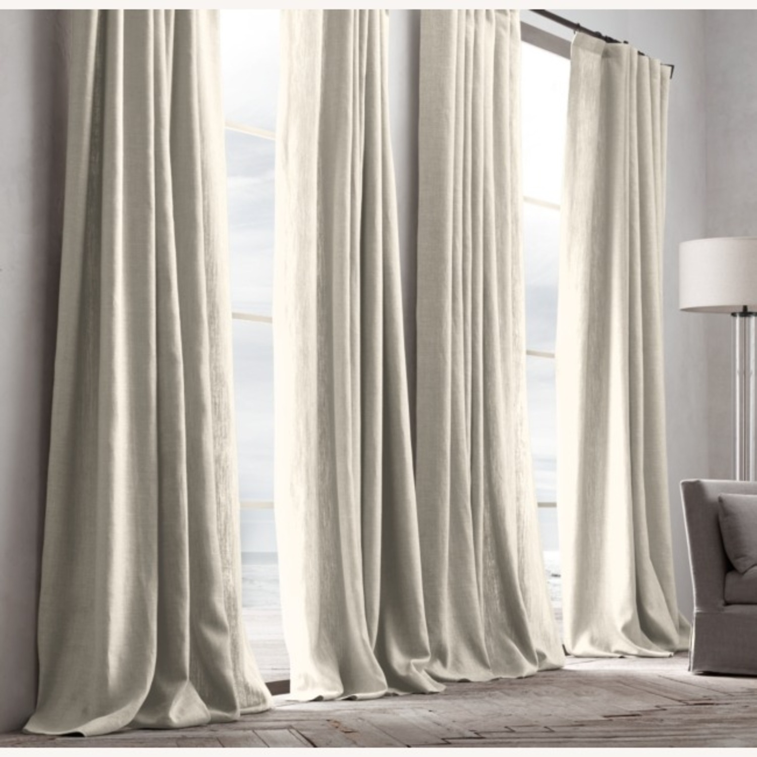 Restoration Hardware Belgian Linen Curtain Natural 108L - image-1