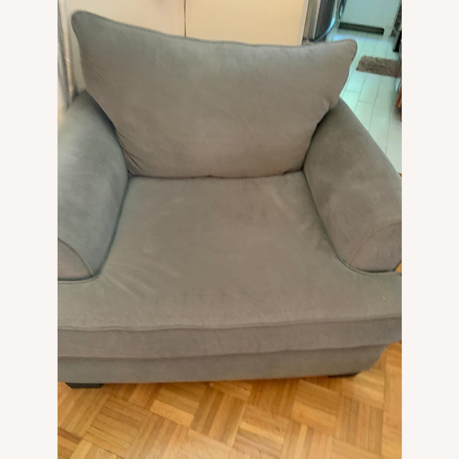 Raymour & Flanigan Large Chair with Matching Ottoman - image-2