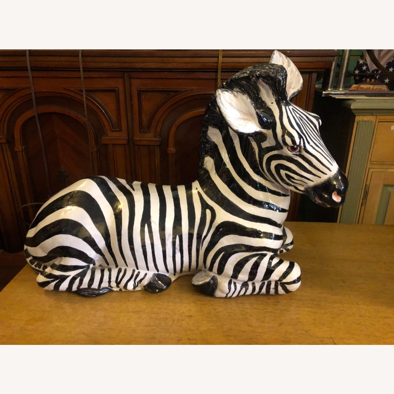 Vintage 1960s Ceramic Zebra Made in Italy - image-1