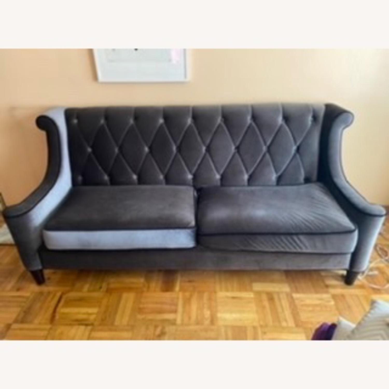 Armen Living Barrister Modern Grey Velvet Sofa - image-0