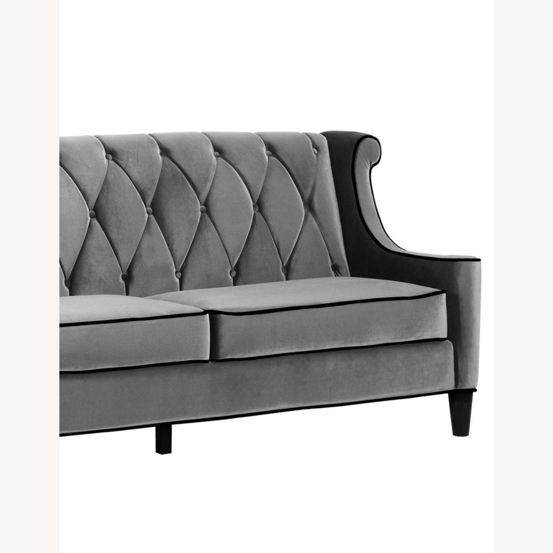 Armen Living Barrister Modern Grey Velvet Sofa - image-2