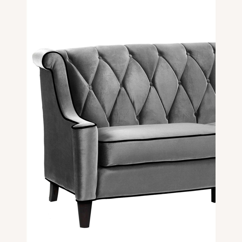 Armen Living Barrister Modern Grey Velvet Sofa - image-1