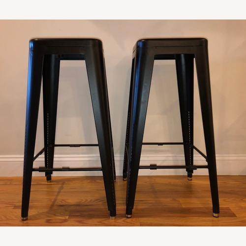 Used Organic Modernism 2 Black Industrial bar stools for sale on AptDeco