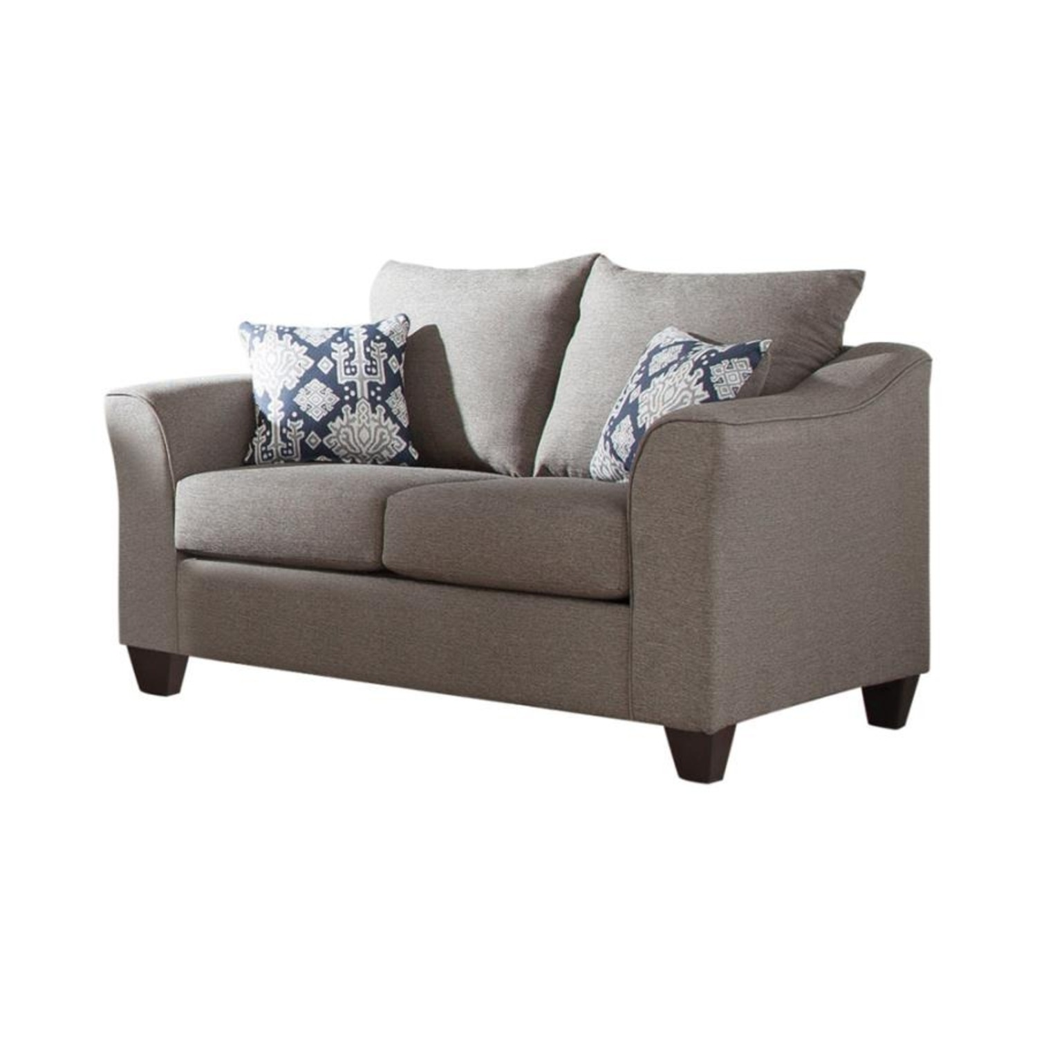Flared Arms Loveseat In Neutral Grey - image-0