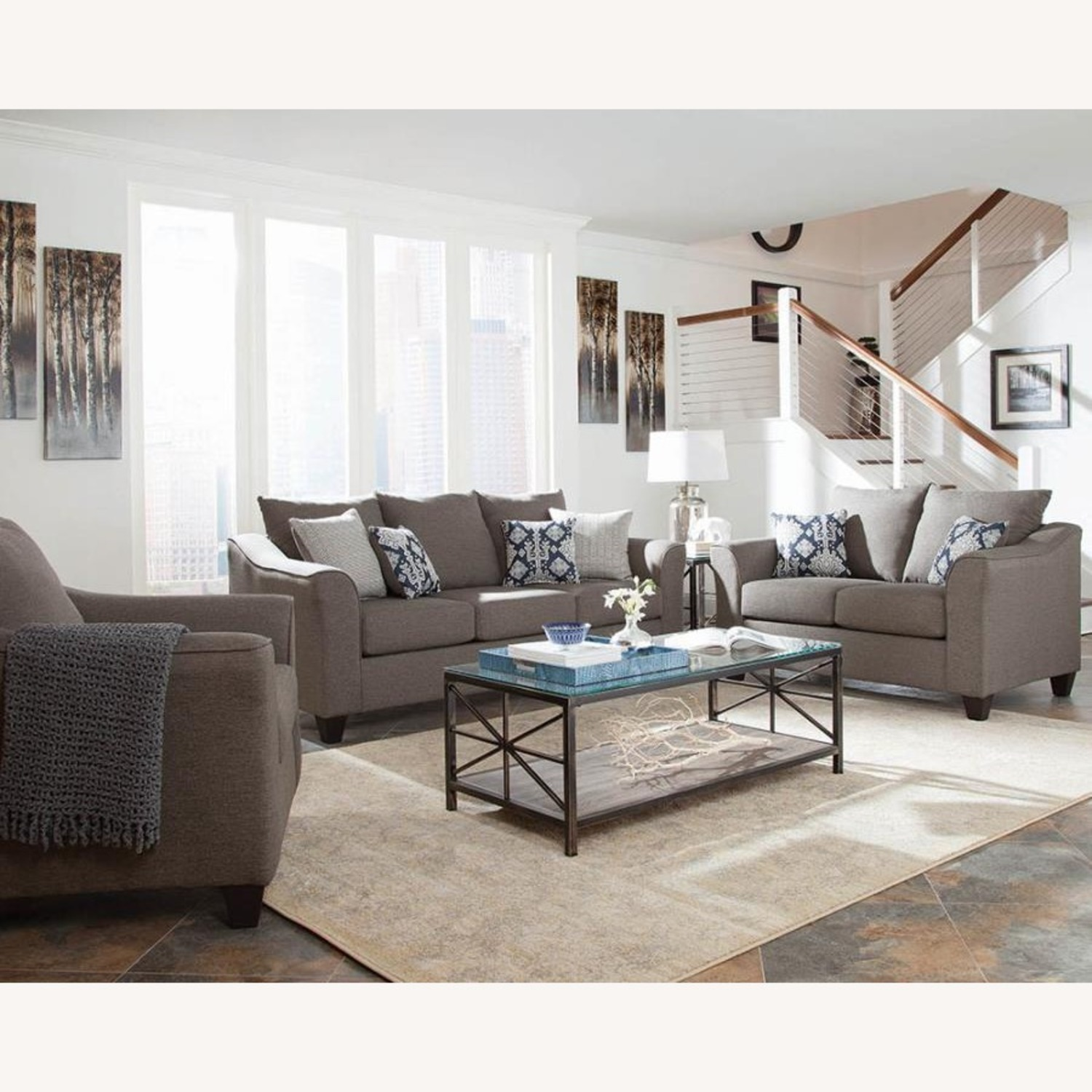 Flared Arms Loveseat In Neutral Grey - image-3