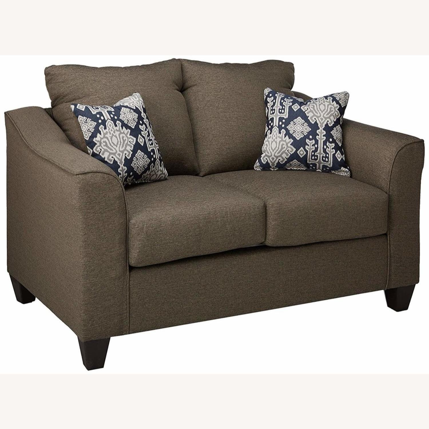 Flared Arms Loveseat In Neutral Grey - image-1
