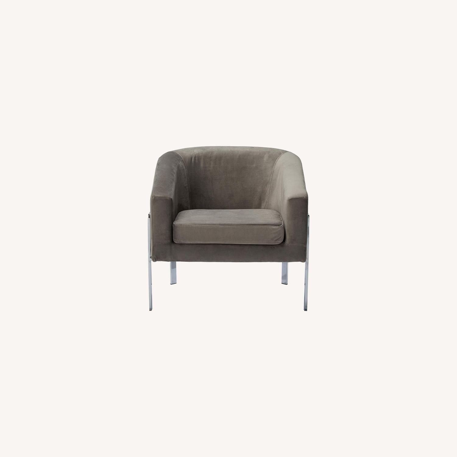 Contemporary Accent Chair in Grey Fabric - image-5