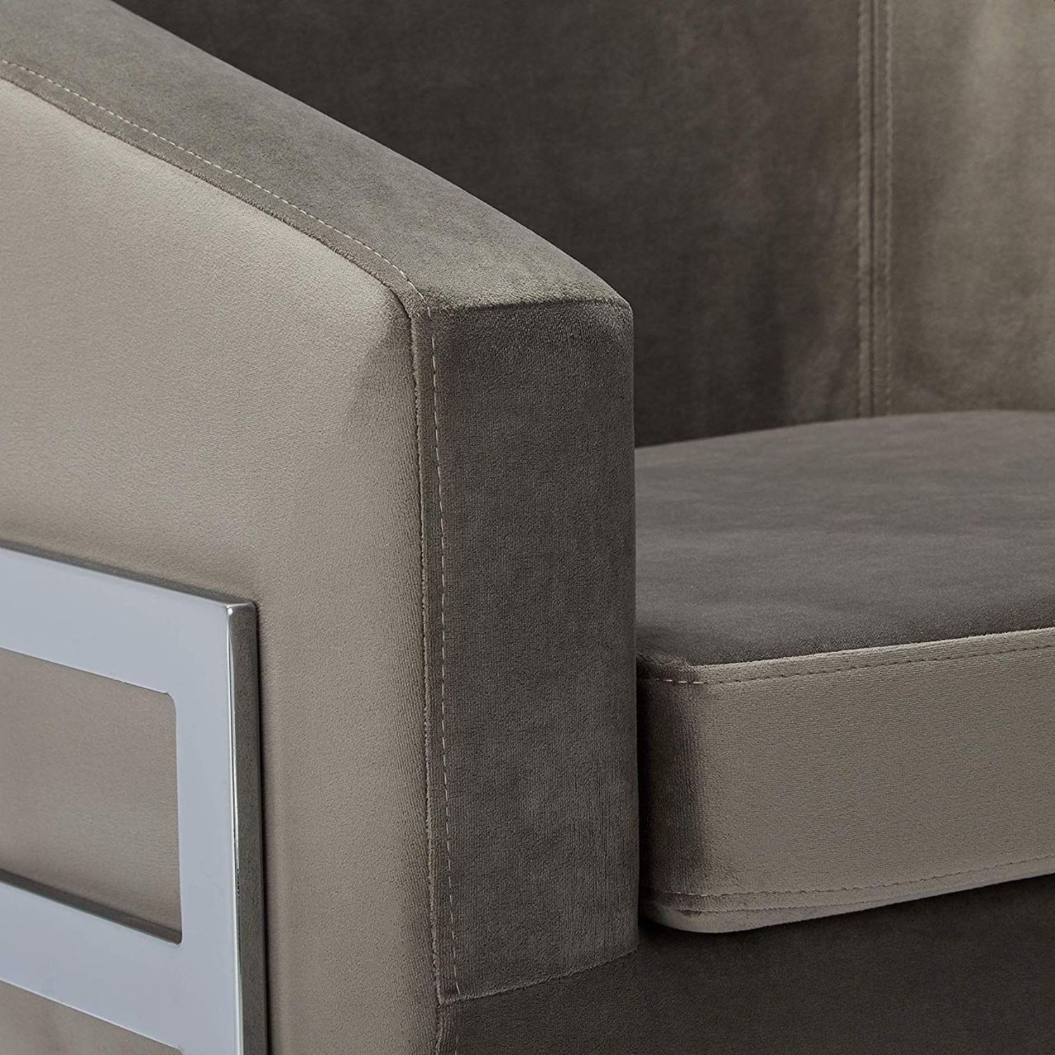 Contemporary Accent Chair in Grey Fabric - image-3